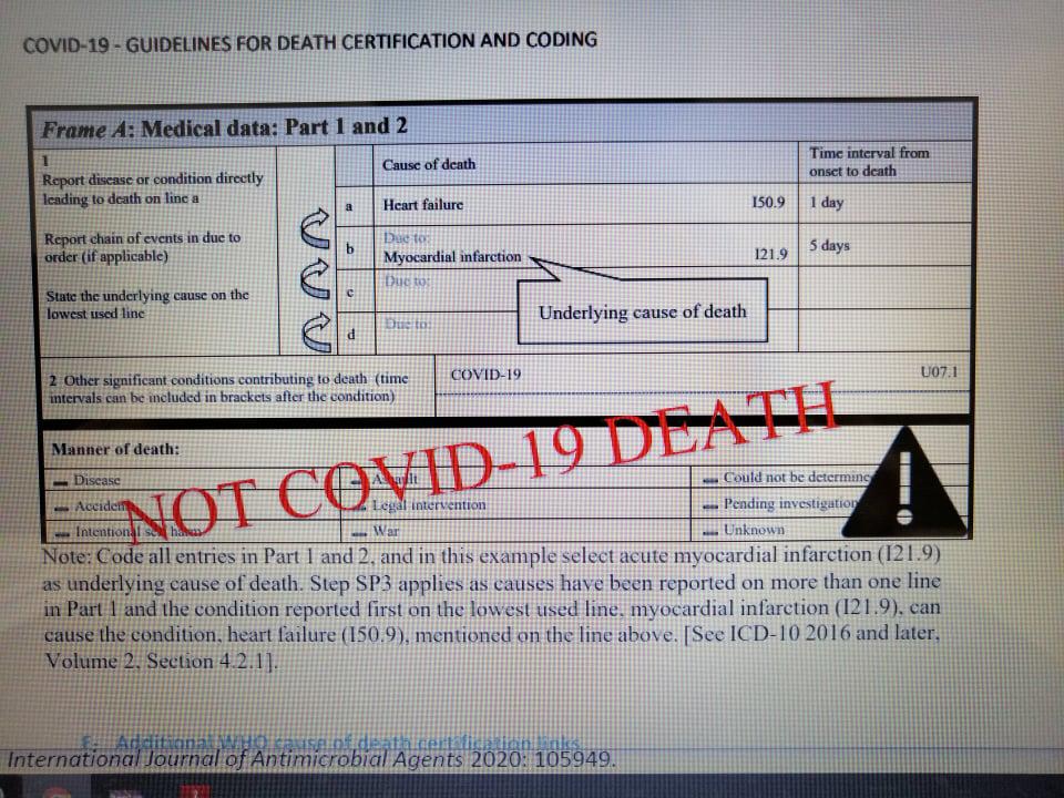 В представен от СЗО пример за издаване на документ за смърт при пациент с COVID-19, се казва, че дори да е заразен с коронавирус, но получи инфаркт, то като официална причина за смъртта се посочва спиране на сърцето в резултат на инфаркт на миокарда. И смъртният случай е регистриран като такъв, който не е причинен от COVID-19.