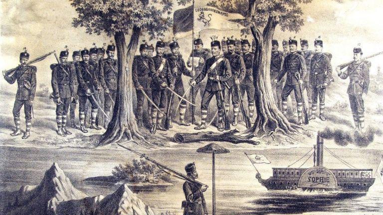Клетвата на четата на Хаджи Димитър и Стефан Караджата на българския бряг- литография, худ. Хенрих Дембицки -1869г.