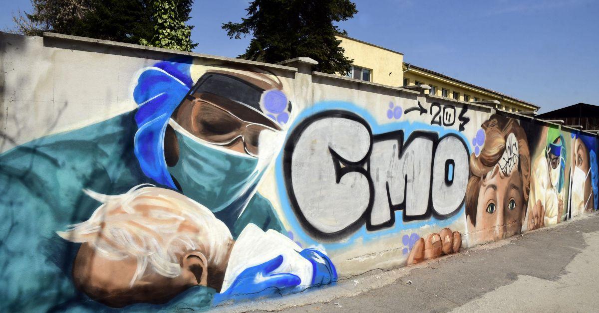 Ученици изрисуваха красиви графити върху стената на болницата за паразитни