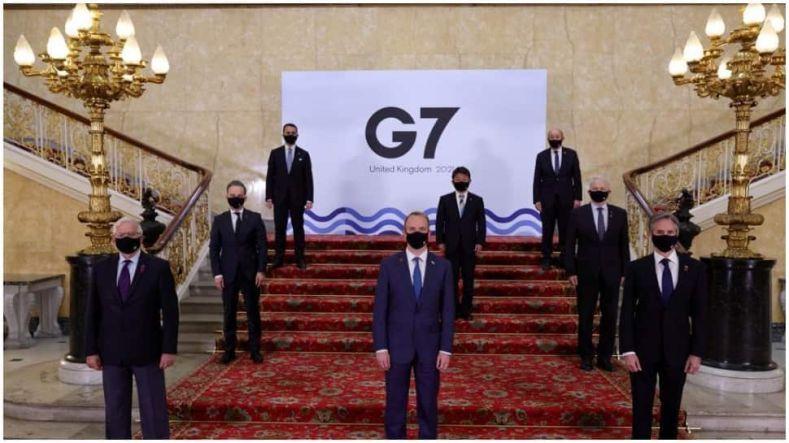 Covid-19 беляза срещата на външните министри на Г-7 в Лондон,