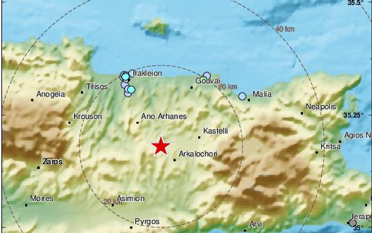 Две земетресения са регистрирани на остров Крит.Това показва справка на