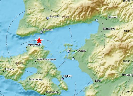 Земетресение с магнитуд 3,5 е регистрирано в окръг Чанаккале, Северозападна